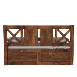 X Sheesham Wood Queen Size Box Storage Bed In Provincial Teak