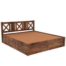 Load image into Gallery viewer, Sheesham  wood king size bed with Box Storage - Finish Color Provincial Teak