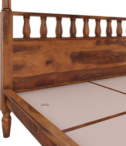 Sheesham Wood Solid Wood King Bed  (Finish Color - Provincial Teak)