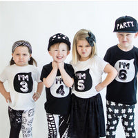 T-Shirt for Kids Short Sleeve White Black Color 1 2 3 4 Years