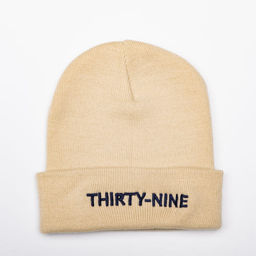 Thirty-nine zwart op beige beanie special edition