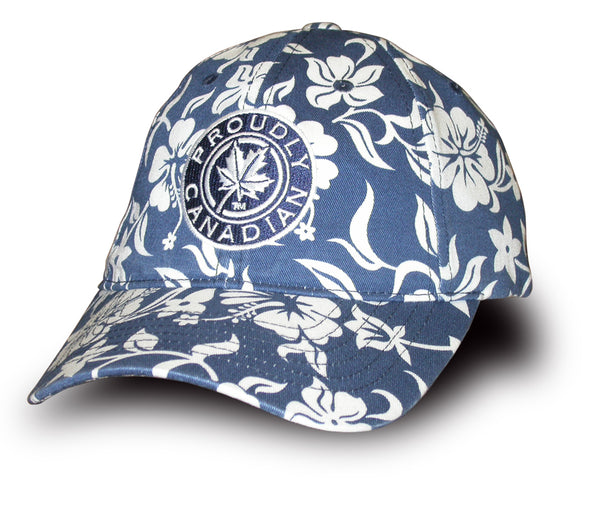 Proudly Canadian Navy Floral Cap