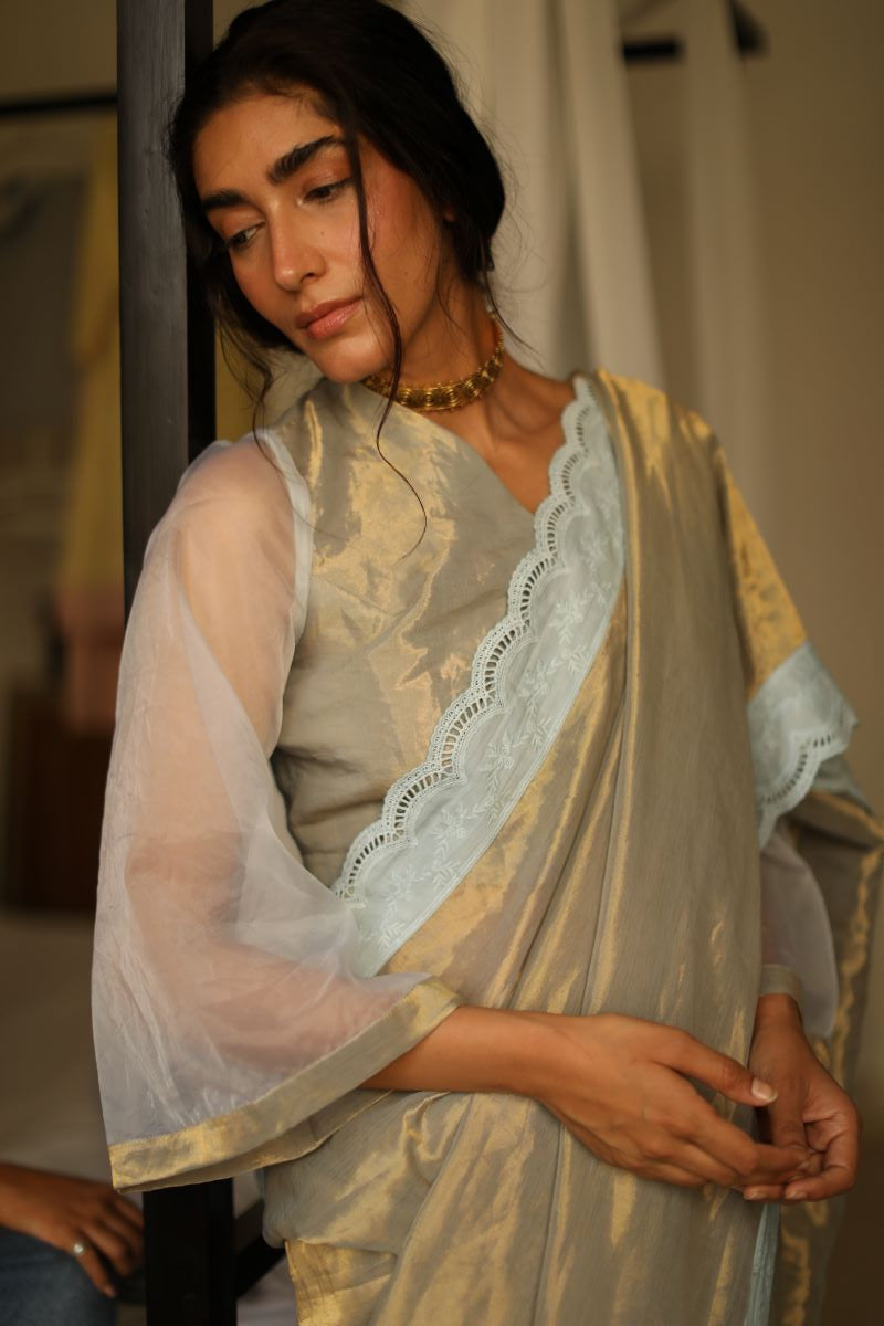 Pale blue gold handwoven tissue blouse