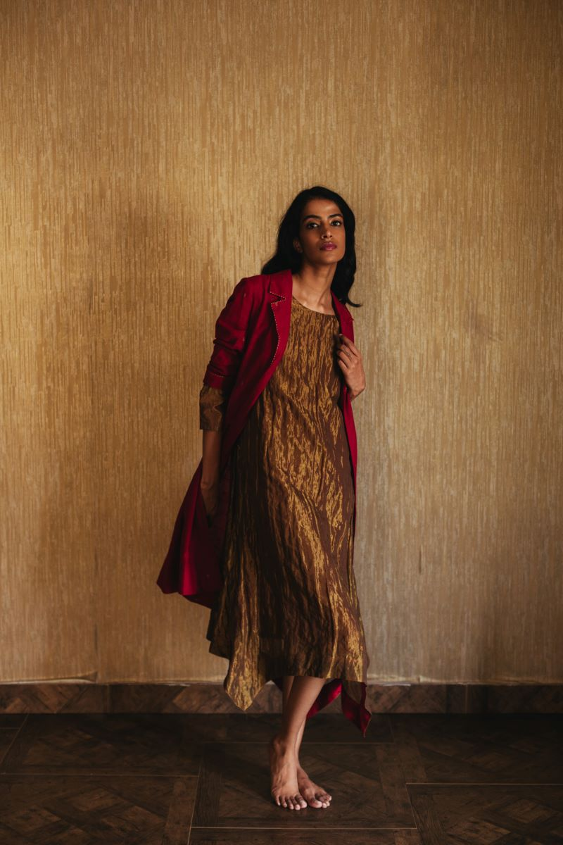 Asymmetric gold dress with BlockPrint sally jacket in chanderi