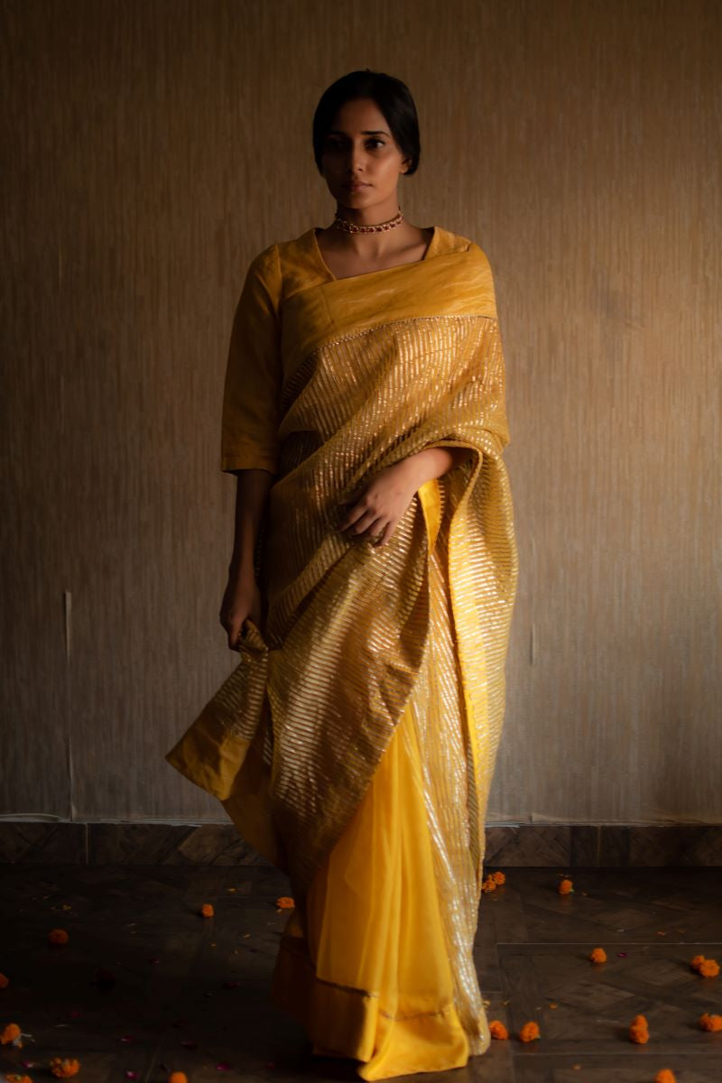 CC sari in yellow half gota stripes