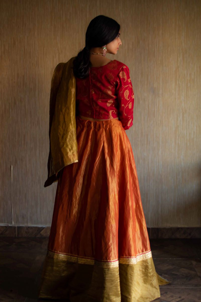Orange Handloom Tissue Lehenga Set