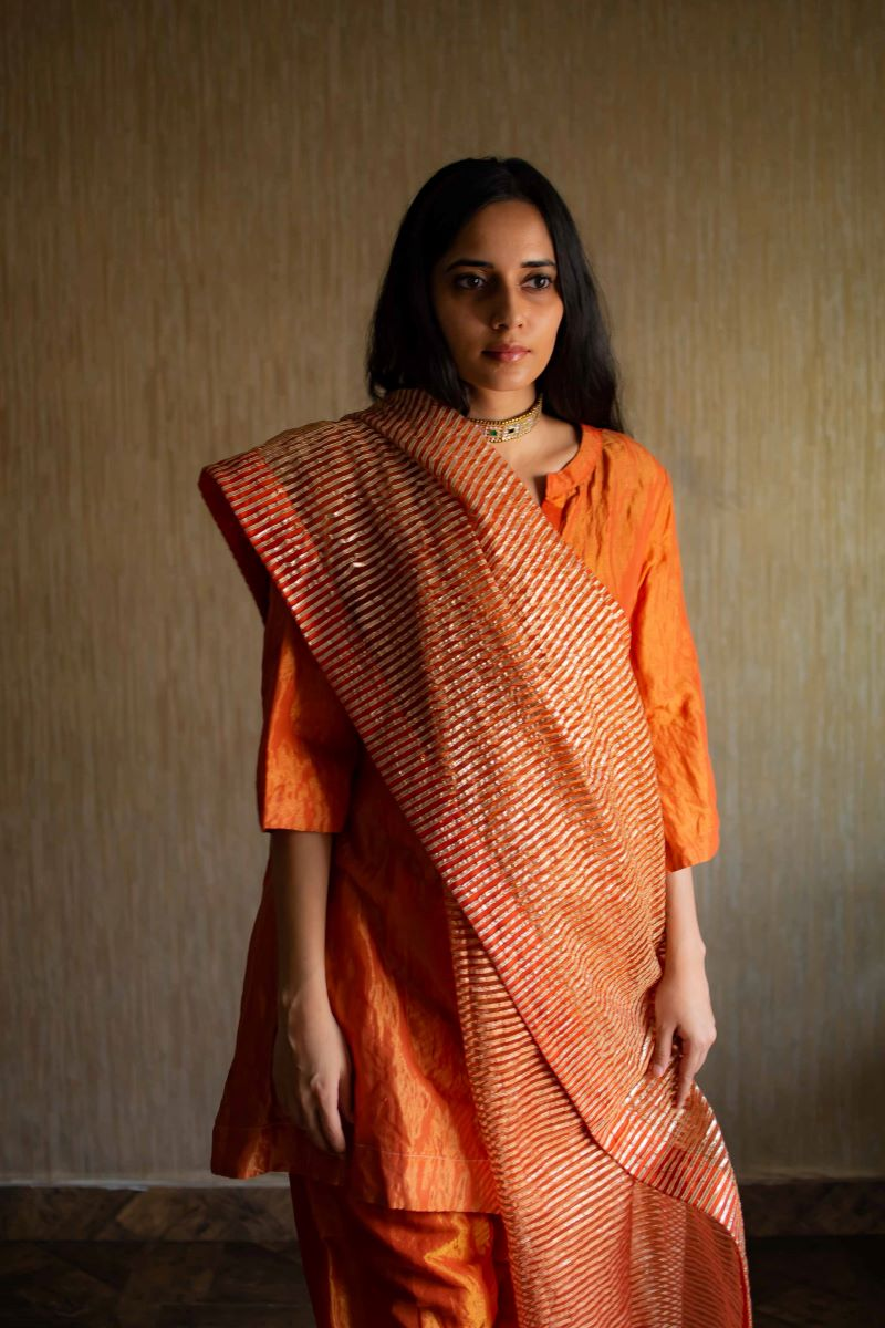 CC dupatta in orange gota stripes