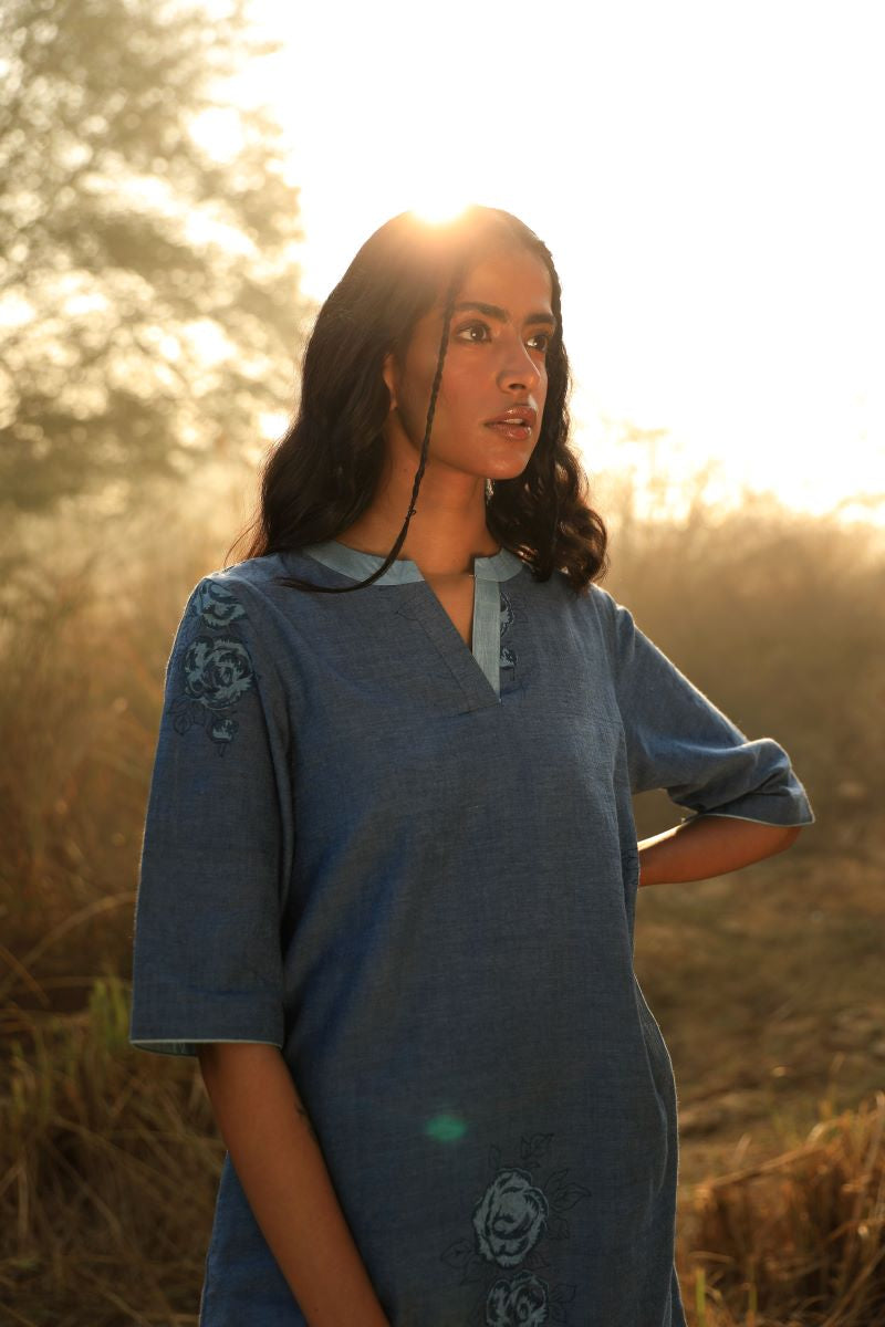 Reborn: Mini Tunic In indigo Khadi with Handblock print