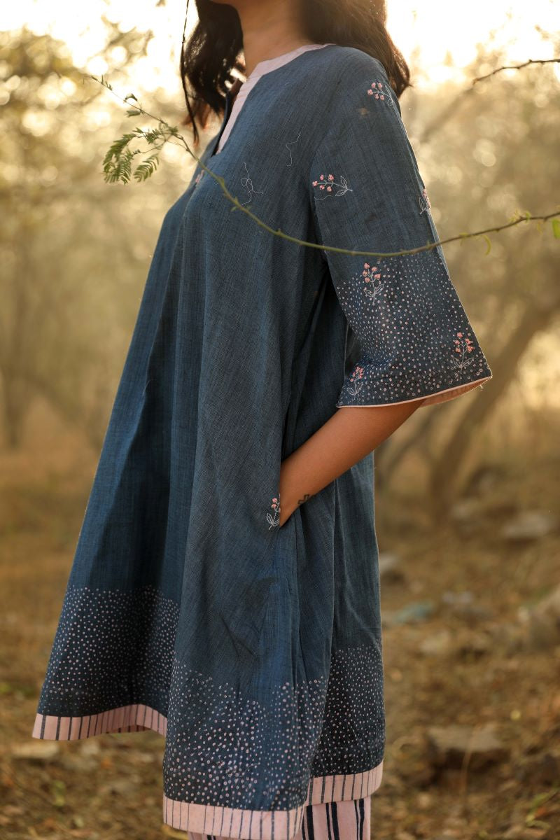 Reborn: Mini Tunic In Handlooom Deep Navy