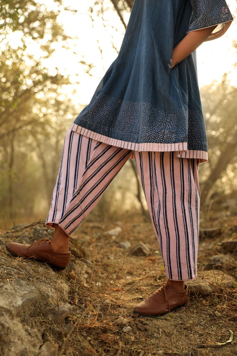 Salwar In Muslin navy Stripes