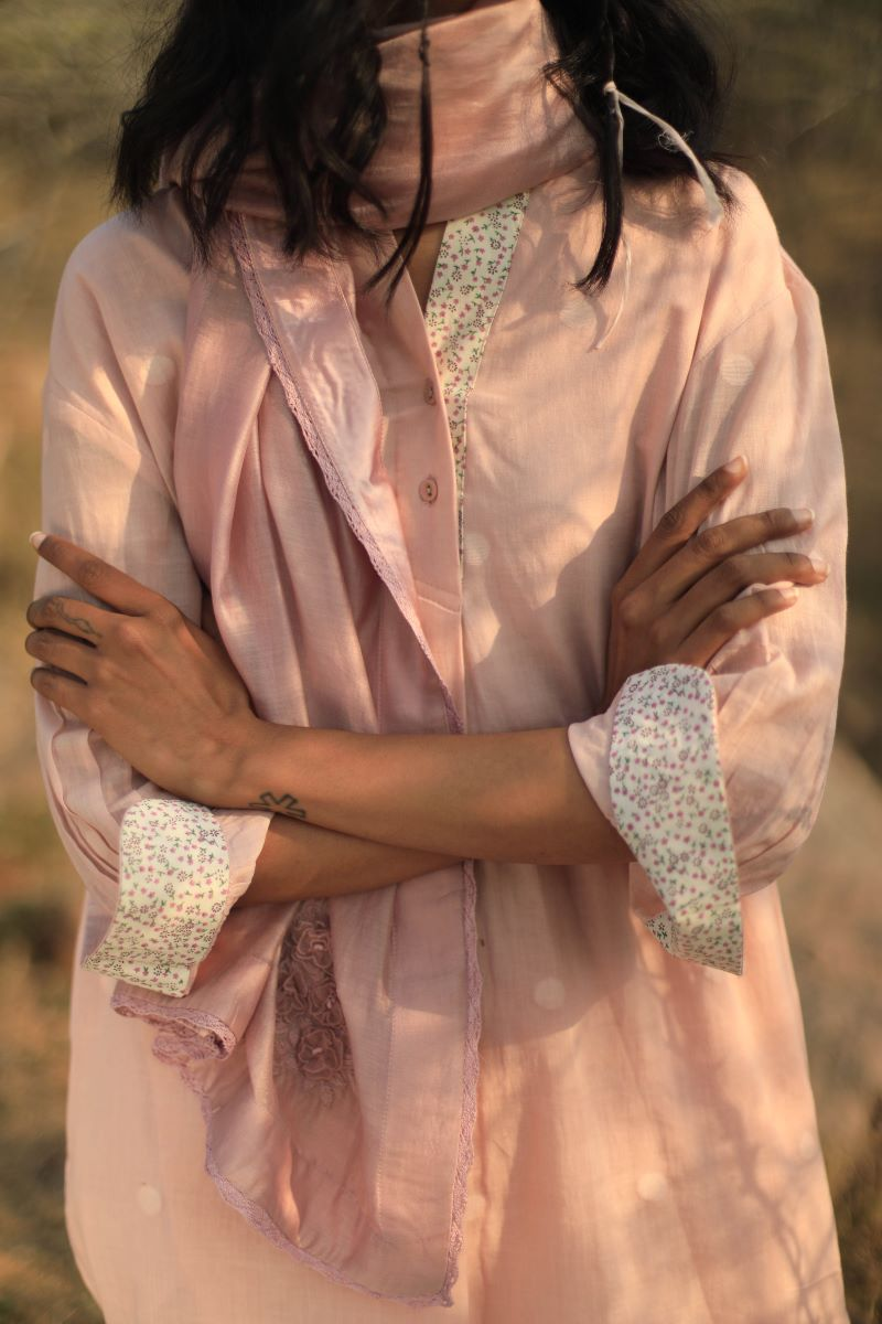Dotty Shirt In Handloom Pink Jamdani