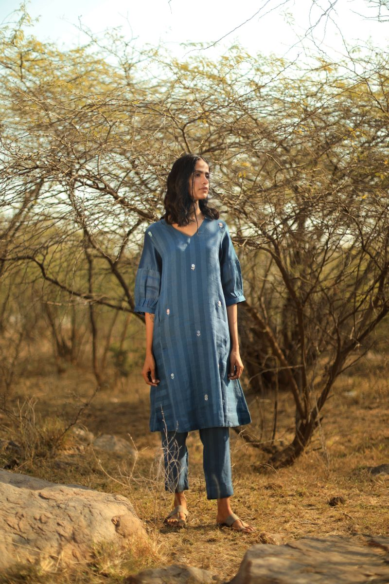 Reborn: Fb Tunic Handloom Linen Indigo Stripes