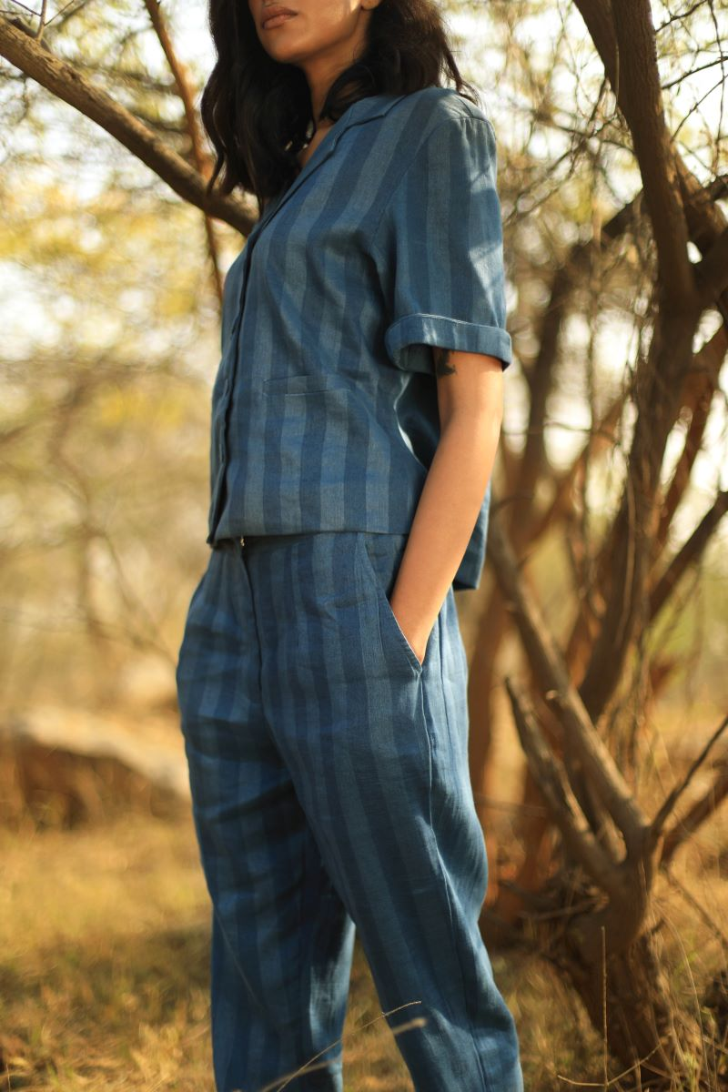 Cigarette Pants In Handloom Linen Indigo Stripes