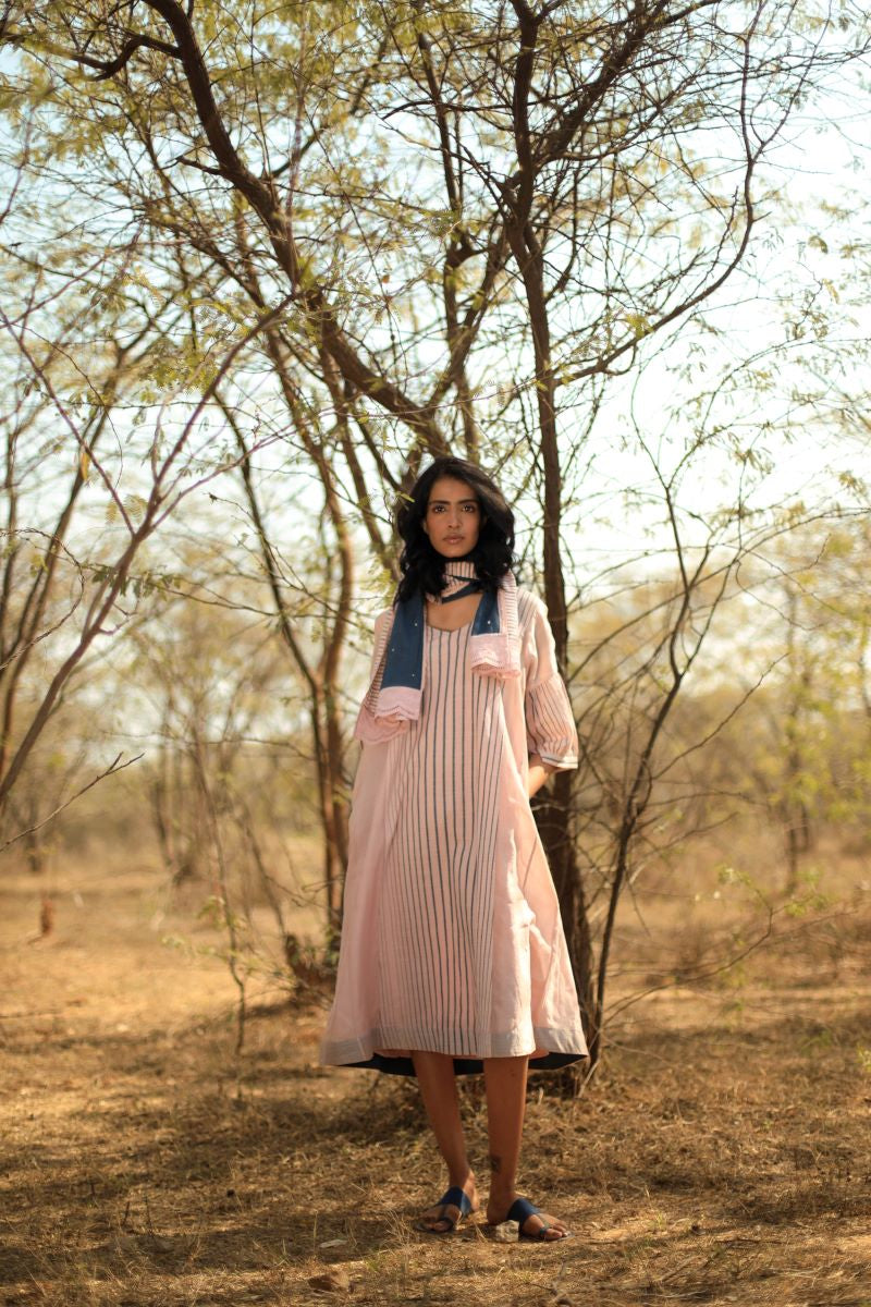 FB Tunic In Pink Handloom Stripes
