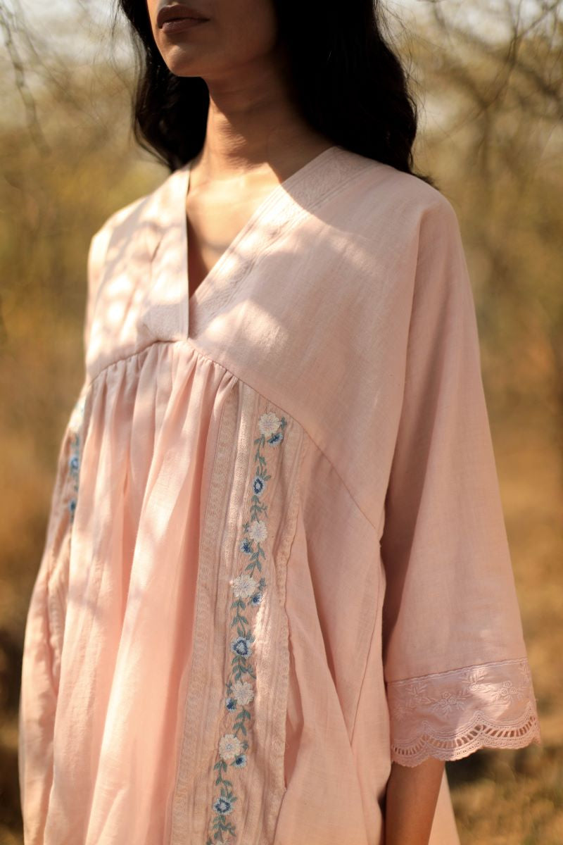Jhabla In Pink Muslin With Embroidery & Lace Trims