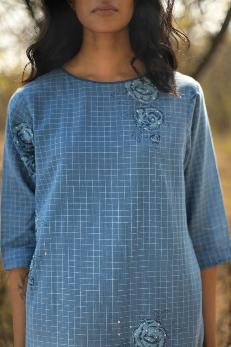 Reborn: Hk Tunic In Handloom Indigo Micro Checks