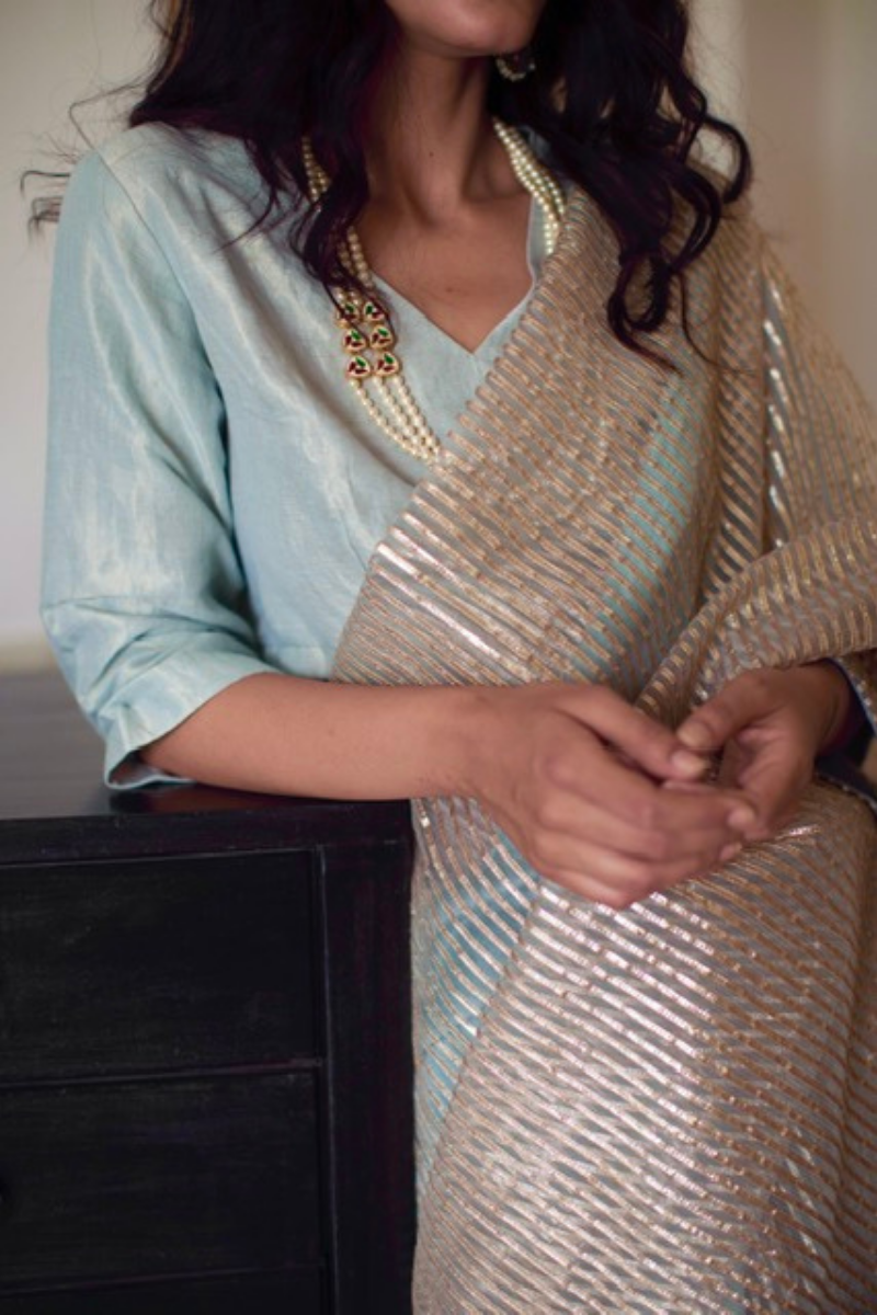 Nina blouse in aqua blue handwoven gold tissue