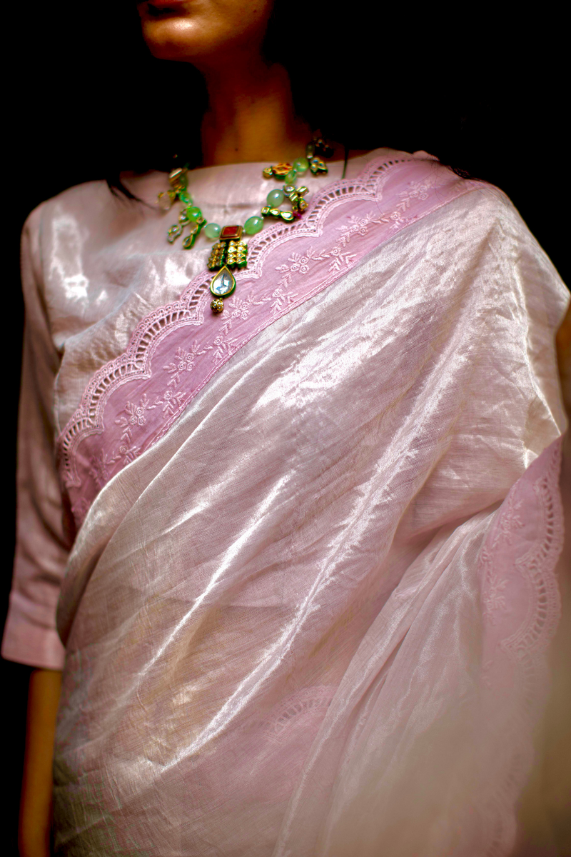 Nina blouse in shell pink handwoven tissue.