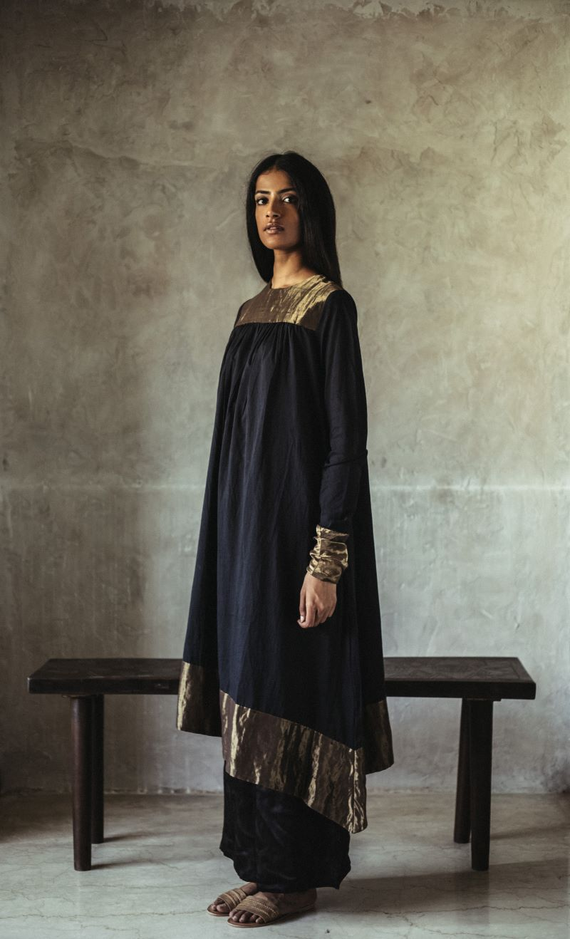 Empireline kurta Black chanderi with gold tissue detailing with palazzos