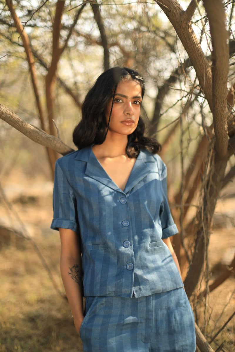 Reborn: Sally Shirt In Handloom Linen Indigo Stripes