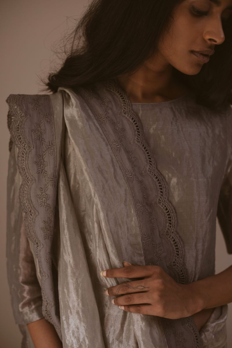 Smokey grey tissue Saree