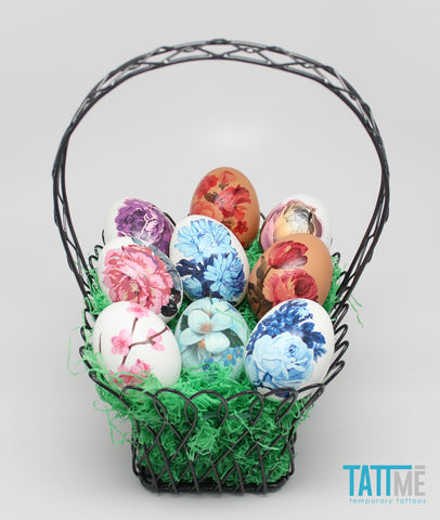 vintage floral designs easter egg basker