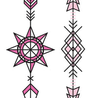 Pink and Black Arrows Temporary Tattoo