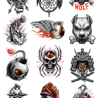 black, grey, and red temporary tattoos