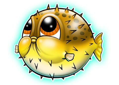 Blow Fish Temporary Tattoo - Under The Sea Tattoos