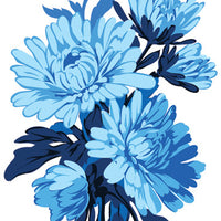 Blue Chrysanthemum Temporary Tattoo - Vintage Floral Tattoos