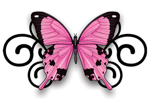 Pink and Black Butterfly Swirl Temporary Tattoo