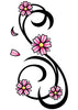 Pink and Black Cherry Blossom Swirl Temporary Tattoo
