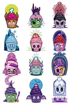 Creepy Cakes Temporary Tattoo Set - Cupcake Tattoos
