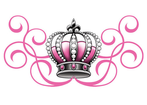 Pink and Black Queen Temporary Tattoo