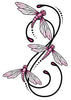 Pink and Black Dragon Fly Swirl Temporary Tattoo
