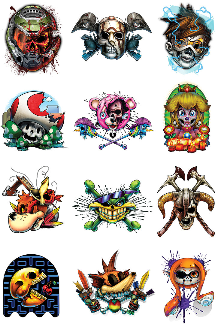 Game Over 4 Temporary Tattoo Set