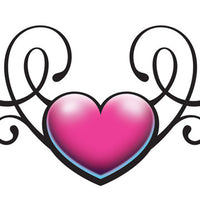 Pink and Black Heart Swirl Temporary Tattoo