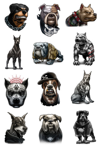 Inked Dogs Temporary Tattoo Set