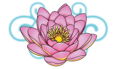 Pink Lotus-Giant Girls Temporary Tattoo