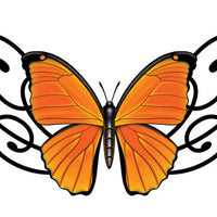 Orange Butterfly Lower Back Temporary Tattoo - Upper & Lower Back Tattoos
