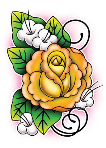 Orange Rose Upper Back Temporary Tattoo - Upper & Lower Back Tattoos