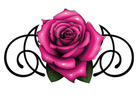 Pink and Black Rose Temporary Tattoo