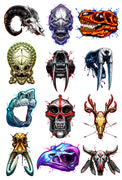 Savage Skulls Temporary Tattoo Set - Animal Skulls and Alien Skulls