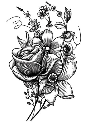 Sketch Mixed Flowers Temporary Tattoo - Vintage Floral Tattoos