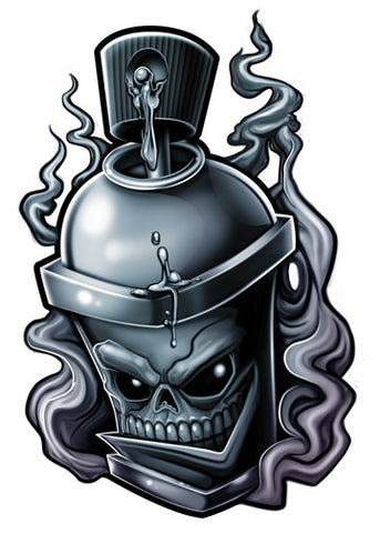 Spray Can Temporary Tattoo - Negro y Gris Black and Grey Tattoos
