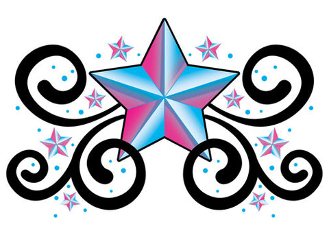 Star Swirls Lower Back Temporary Tattoo - Upper & Lower Back Tattoos