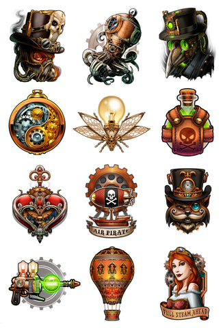 Steampunk temporary tattoo collection