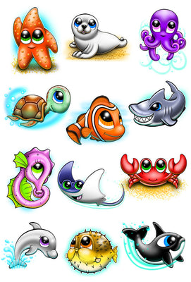 Under The Sea Temporary Tattoo Set - Ocean Animal Tattoos