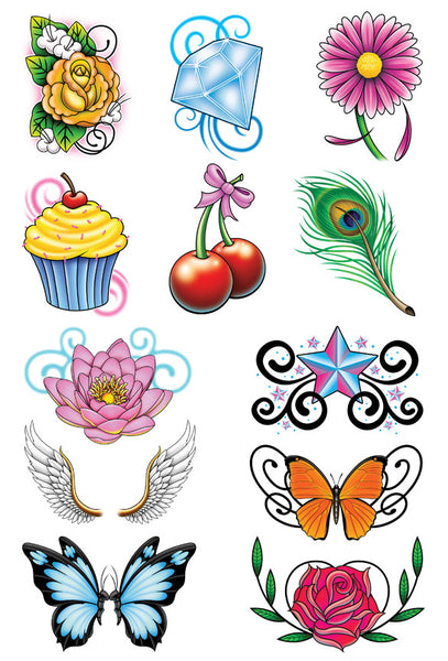 whimsical mix temporary tattoo set tatt me temporary tattoos. Black Bedroom Furniture Sets. Home Design Ideas