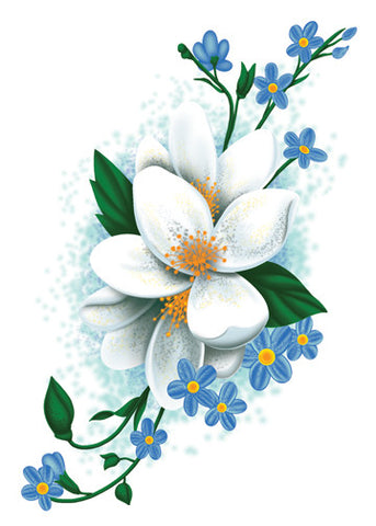 White Flowers Temporary Tattoo - Vintage Floral Tattoos